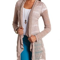 STRIPED OPEN CASCADE CARDIGAN