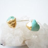 Raw Stone Stud Earrings - Turquoise Gemstones - Gold Dipped -Sterling Silver Posts - Handcrafted