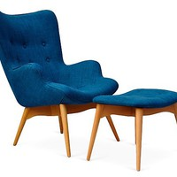 Jonis Chair and Ottoman, Blue