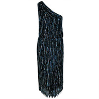 1970's Halston One-Shoulder Asymmetric Beaded Black Silk Cocktail Dress