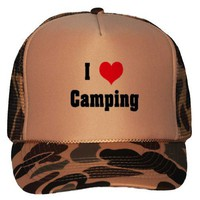 I Love/Heart Camping Adult Brown Camo Mesh Back Hat / Baseball Cap