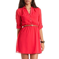 BELTED WOVEN SHIRT DRESS