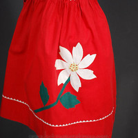 Vintage Christmas Apron Red with White Poinsettia