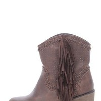 Short Western Boot with Fringe