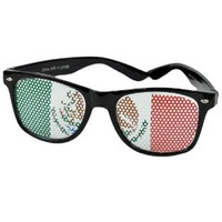 Sun Glasses Black Fashion Novelty Wayfarer Style Shades Costume Mexican Flag