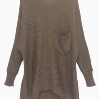 Brown Oversize Batwing Knit Sweater