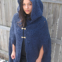 Women's handmade crocheted cloak. Medieval/ high fashion outerwear.