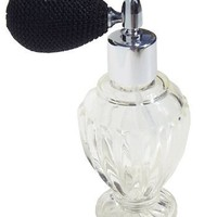 Vintage Style Refillable Empty Glass Perfume Bottle Black Bulb Spray Atomizer 1.64 Oz