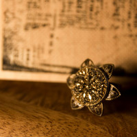 Bronze flower statement ring