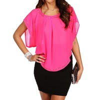 Hot Pink Short Sleeve Embellished Blouse