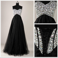 Custom Made Black A-Line Floor-Length Prom Dresses,Graduation Dresses,Cheap Evening Dress,Formal Dresses