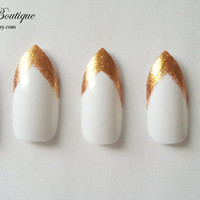 Fake Nail Set - Rihanna White & Glitter Gold Print Colour Blocked French Tip Pointy Stiletto Nails