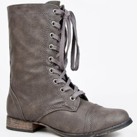 Breckelle's GEORGIA-72 / 21 Lace Up Mid Calf Military Combat Stacked Heel Boot,9 B(M) US,Taupe-21