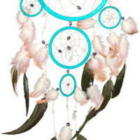 Five Rings with Feathers - Turquoise - Dreamcatcher