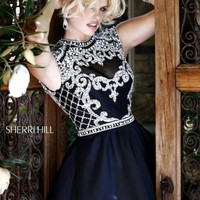 Beaded High Round Neckline Dress by Sherri Hill