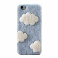 Blue Sky And White Cloud Plush Handmade Case For iPhone 4/4S