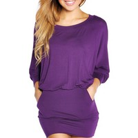 Purple Tunic Round Neck Long Sleeve Dress with Pockets