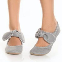 LuLu's~ Big Buddha Baily Graphite Canvas Mary Jane Flats
