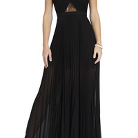 Black BCBG Caia Chiffon-Pleated Gown