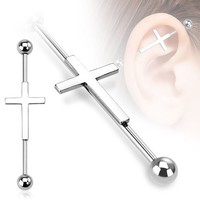 "Industrial bar 316L Surgical 14g 38mm-1-1/2"" Industrial Barbell Cross"