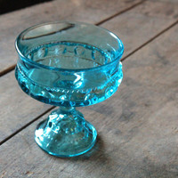 Vintage Mid Century Blue Glass Compote
