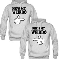 he is my weirdo she is my weirdo Hoodies - TeeeShop