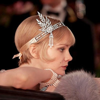 The Great Gatsby Headband, 1920's Style, White Pearl Swarovski Crystal Bridal Hair Piece, Daisy Buchanan, Bridesmaid Jewelry-171445488