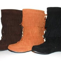 Women's Faux Suede Fringe Moccasin Beaded Tassle Mid Calf Boots Black, Camel. Brown