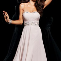 Strapless chiffon gown by Tony Bowls Evenings
