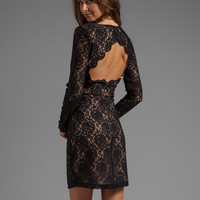 Bardot Open Back Lace Dress in Black