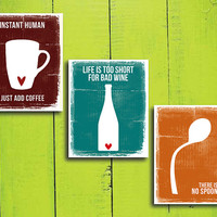 Funny Kitchen Set 3 Prints Coffee, Wine and No spoon 8x10 inch