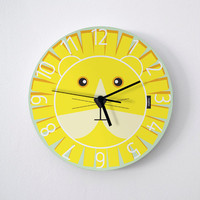 Big Kids Wall Clock Lion / Bright Yellow : high quality products from original izzybizzy illustrations