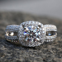 Diamond Engagement Ring -14K white gold - chunky - 1.40 carat Round - Halo - Pave - Multi row - Brides - bph016