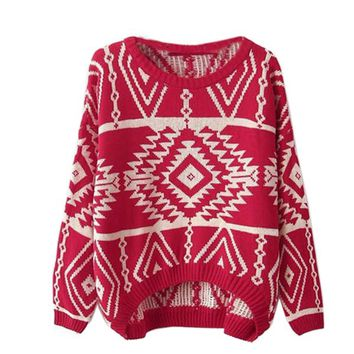 Zeagoo Women's Geometric Knitted Sweater Loose Pullover Outwear Red
