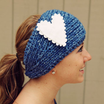 READY to SHIP TODAY Medley Headband in Denim Mist with felt heart attachment