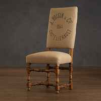 1890 English Baroque Side Chair Printed Burlap