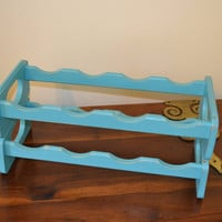 Wine Rack Towel Rack Turquoise Aqua Blue Wood Upcycle Recycle Handmade LittlestSister
