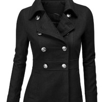 Doublju Women's Double Breasted Pea Coat Jacket