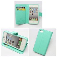 PIAOPIAO style fashion pu leather wallet credit card flip Case Cover Skin For Apple iPhone 5 5G 5S (mint green)