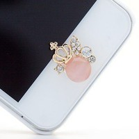 Bling Rhinestone Crystal Imperial Crown Man-made Cat's Eye Design Home Button Sticker for Apple iPhone 4/4S/5, iPad 2/3/4, iPad Mini, iPod