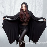 Ready To Ship - DARKNESS Hooded Cloak Jacket - Thumbhole Sleeves - Size S/M - Holiday Gift for Her