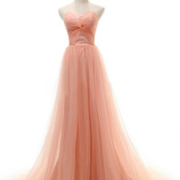 Cheap Coral A-line Sweetheart Neckline Court Train Prom Dress, Prom Dresses, Formal Dresses, Coral Formal Dress, Cheap Long Prom Dresses