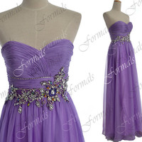 2014 Prom Dresses, Lilac Prom Gown, Strapless Long Lilac Chiffon Prom Dresses, Evening Gown, Wedding party Dresses, Chiffon Formal Gown