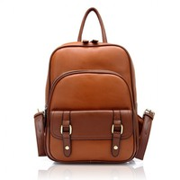 Fashion Leather College Style Backpacks