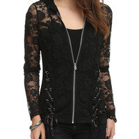 Royal Bones Black Lace Girls Hoodie