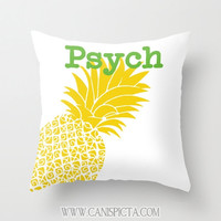 Psych Throw Pillow Television Show Pineapple 16x16 Decorative Cover Burton Guster TV Pop Culture Gift For Him Humor Lime Yellow Fun Green
