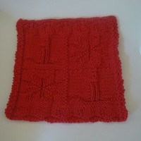 Hand Knit Picture Perfect Poinsettia and Candle Dishcloth or Washcloth