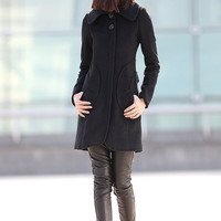 wool coat women's black winter jacket-CF080