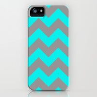 Chevron Turquoise iPhone & iPod Case by Alice Gosling
