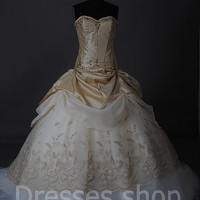 Champagne Off-shoulder Lace Princess Prom Bridal Gown Formal Wedding Dresses Custom 2 4 6 8 10 12 14 16 & Plus Size